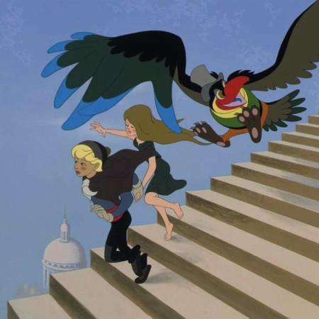 La bergère, le ramoneur et l'oiseau dans les escaliers