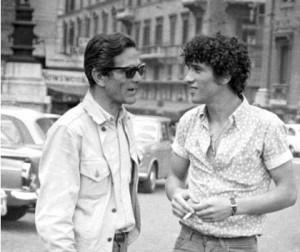 Pasolini et son ami Ninetto Davoli sur le tournage de « La Contestation », 1969