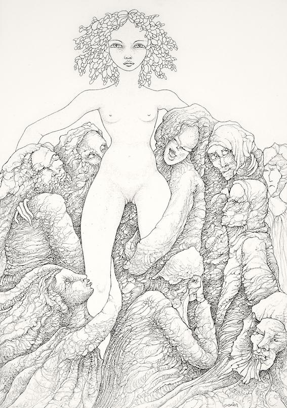 « Les prétendants », dessin à la mine de plomb, Michel Ogier