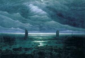 caspar-david-friedrich-rivages-avec-la-lune-cachc3a9e-par-des-nuages-1836