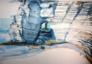 3 hommes dans le paysage (Etretat), 50x70 cm, aquarelle au couteau, mine de plomb, encre & craie blanche sur papier @Emmanuel Ruben