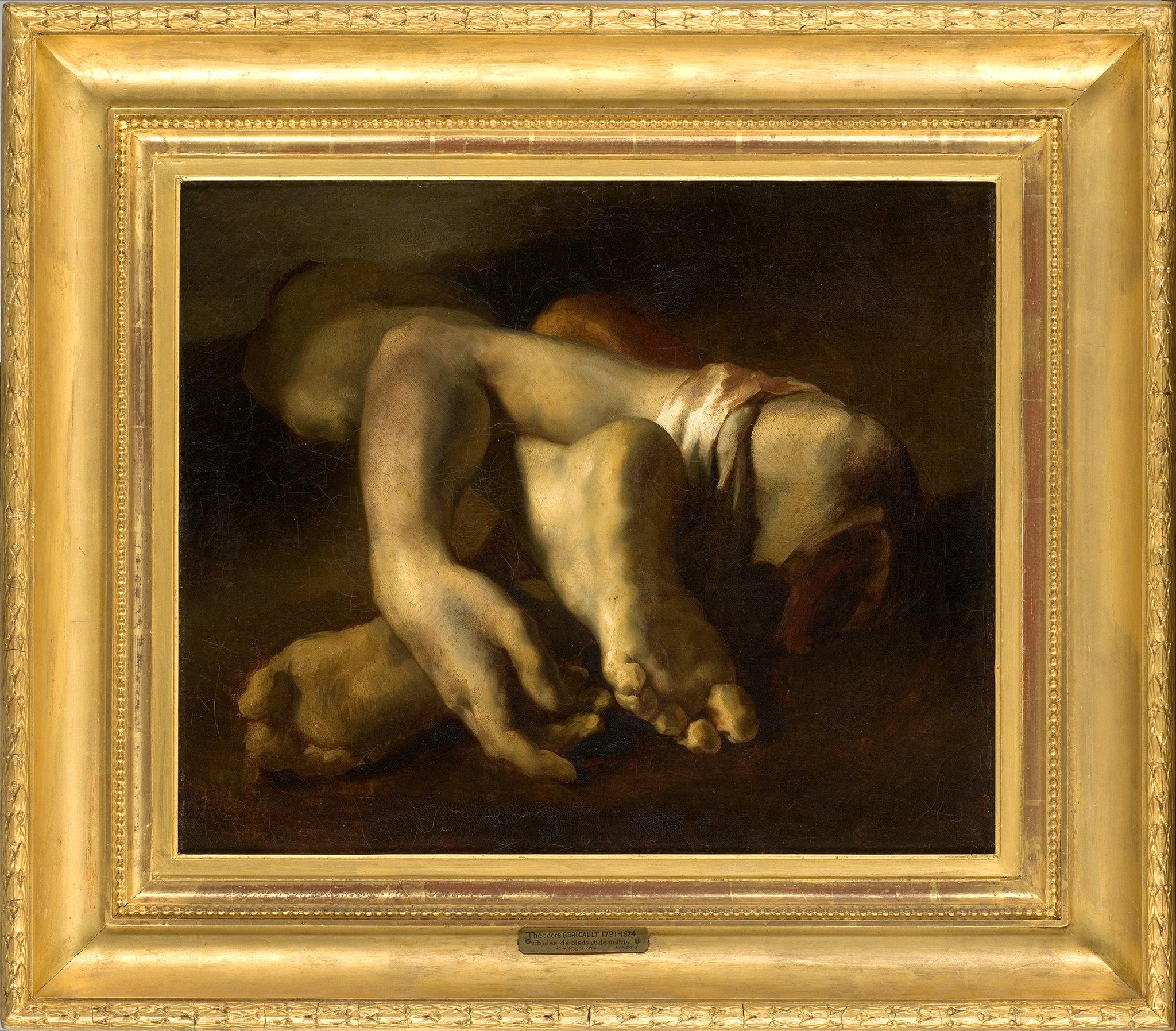 Théodore Géricault, Étude de pieds et de main, Huile sur toile, vers 1817 - 1819