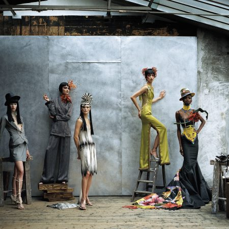 Christian Dior, Paris (fashion house); John Galliano (designer) Models wearing spring−summer 1997, featured in US Vogue, April 1997 Dior Heritage collection, Paris Photo © Peter Lindbergh Models: Christina Kruse, Shalom Harlow, Carolyn Murphy, Ling Tan and Debra Shaw