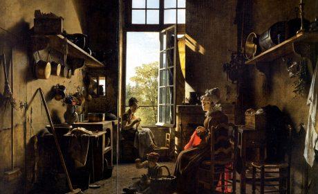 Martin Drölling, Intérieur d'une cuisine (tableau réalisé avec de la « mumie », la substance récupérée à partir des cœurs embaumés de la famille royale).