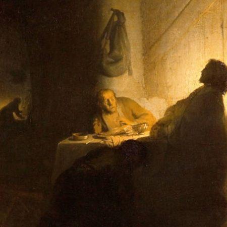 Les Pèlerins d'Emmaüs, Rembrandt (v. 1628).