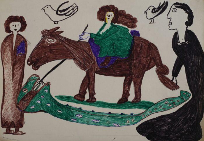 9. STANICIC Matija, Saint George tuant le Dragon (46), env. 1976-1977, 28.5x41cm, feutre sur papier, MNMA