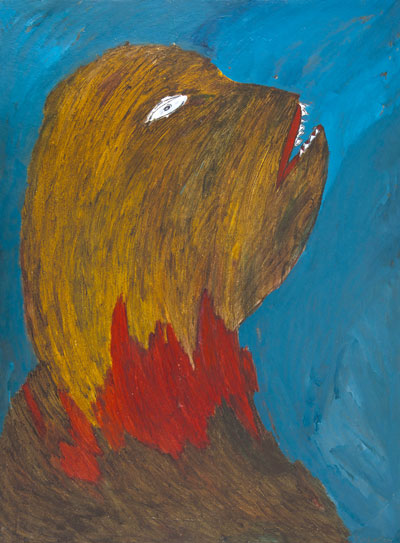 BARBARIEN, Pedrag Milicevic, Bessie (tiré du cycle Jours en Prison), 2003, huile sur carton, 107x79cm, coll. privée