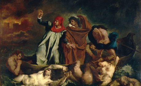 Dante et Virgile aux enfers, dit aussi La barque de Dante. Eugène Delacroix, 1822. Huile sur toile, 189 x 241. Paris, Musée du Louvre.