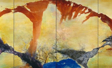 Zao Wou-Ki, Décembre 89–Février 90—Quadriptyque (December 89–February 90—Quadriptych), 1989–90. Oil on canvas. Each canvas: 63 3/4 x 39 3/8 in.