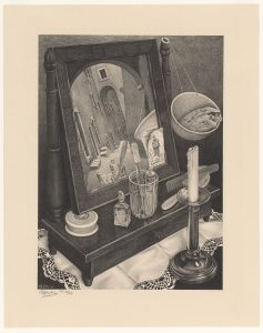 M. C. Escher Still life with mirror March 1934 lithograph Escher Collection, Gemeentemuseum Den Haag, The Hague, the Netherlands © The M. C. Escher Company, the Netherlands. All rights reserved