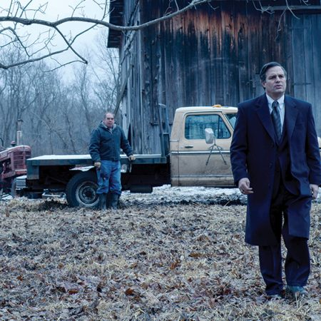 """Bill Camp (left) as """"Wilbur Tennant"""" and Mark Ruffalo (right) as """"Robert Bilott"""" in director Todd Haynes' DARK WATERS, a Focus Features release. Credit : Mary Cybulski / Focus Features"""