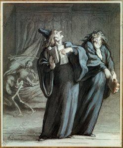 H.Daumier, Zwei Aerzte und der Tod - Daumier / Two doctors and Death - H. Daumier / Deux medecins et la mort