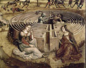 Maître_des_Cassoni_Campana_-_La_légende_crétoise_en_quatre_compositions_(détail_Labyrinthe)_-_1500-1525